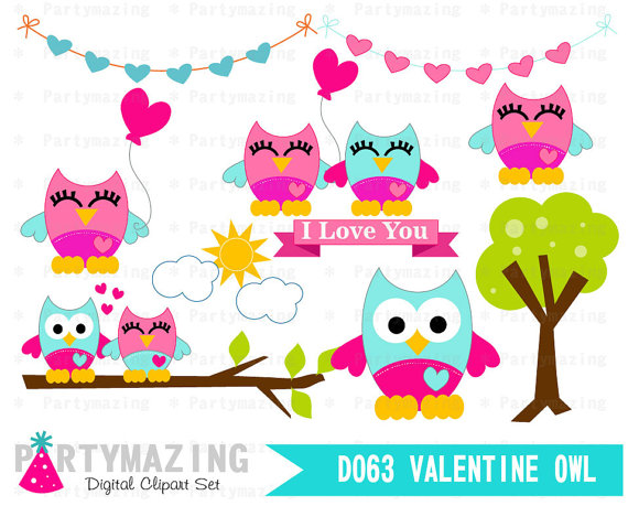 570x459 Owl Clipart, Valentine Cute Owl Clip Art Set, Romantic Owl In Love