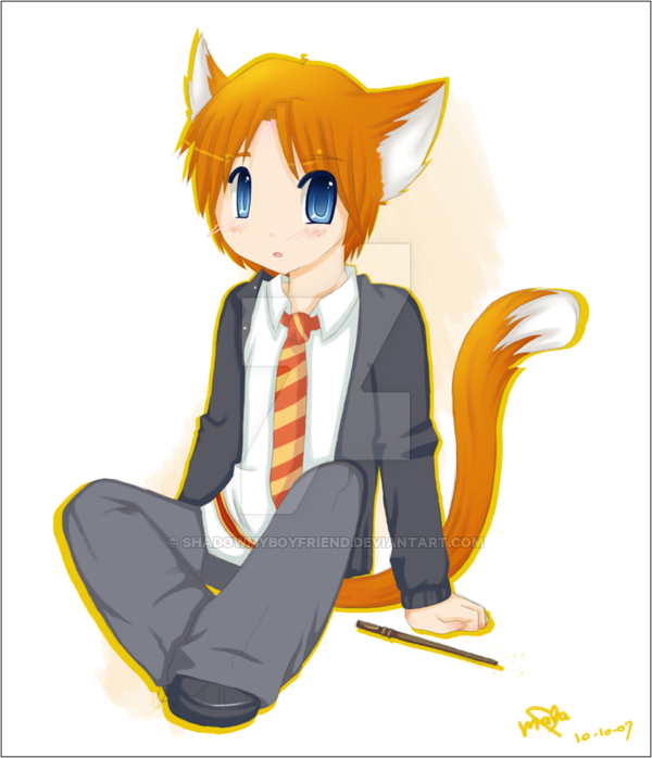 600x698 Hp Ron Weasley Goes Neko By Shadowmyboyfriend