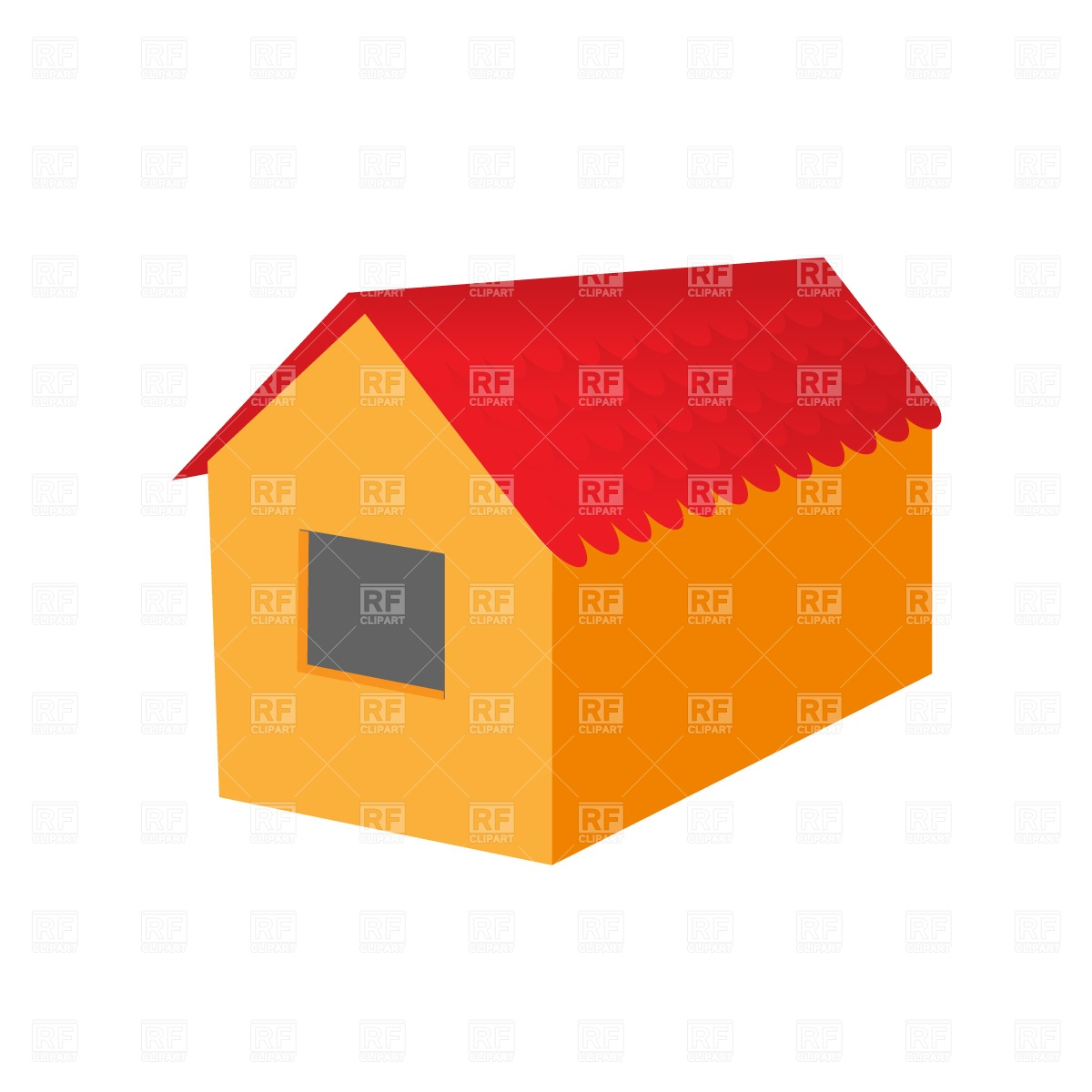 1200x1200 House With Tiled Roof Free Download Vector Clip Art Image