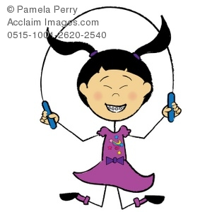 300x300 Clip Art Illustration Of An Asian Stick Girl Skipping Rope
