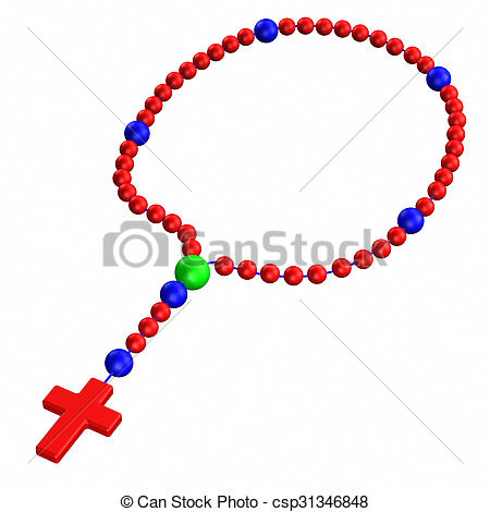 450x470 Rosary, Isolated On White Background. 3d Render. Drawing