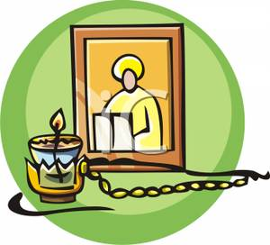 300x272 Rosary Beads With A Candle And Picture Clip Art Image