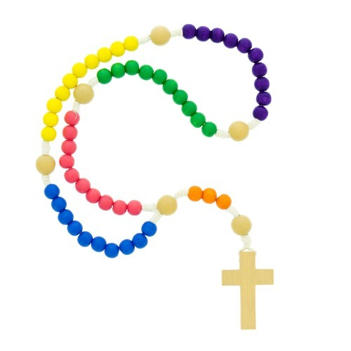 500x500 Wood Multi Colored Children's Corded Rosary The Catholic Company