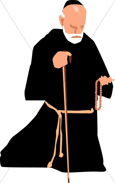 384x612 Catholic Monk With Rosary Clergy Clipart