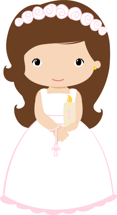 408x750 First Communion. Girl With Candle And Rosary Bautizos Y