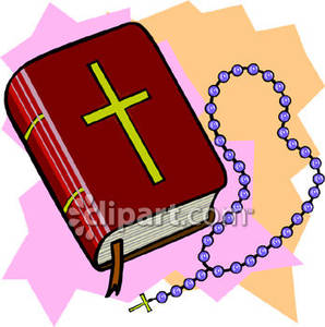 298x300 A Red Bible And Purple Rosary Beads