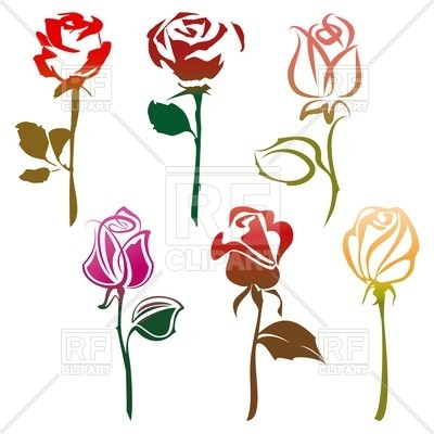 400x400 Set Of Stylish Roses Royalty Free Vector Clip Art Image
