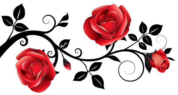 600x321 Wonderful Design Clipart Rose Red And Black Decorative Roses Png