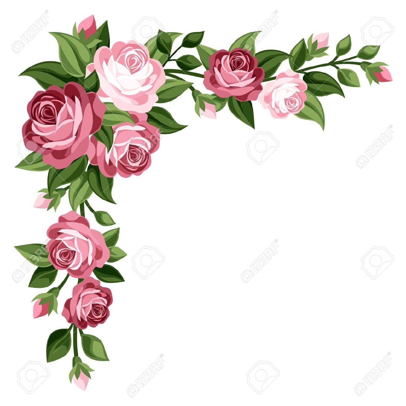1300x1300 Breathtaking Pink Rose Border Clip Art Free Flower Clipart Tags
