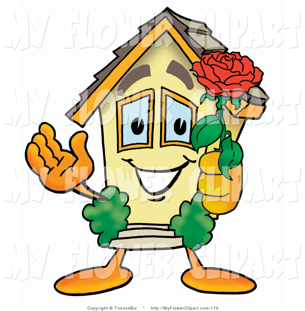1024x1044 Clip Art Of A Home Mascot Cartoon Character Holding A Red Rose