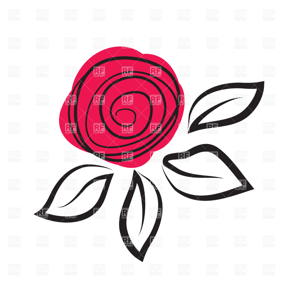 1200x1200 Abstract Rose Flower Royalty Free Vector Clip Art Image Design