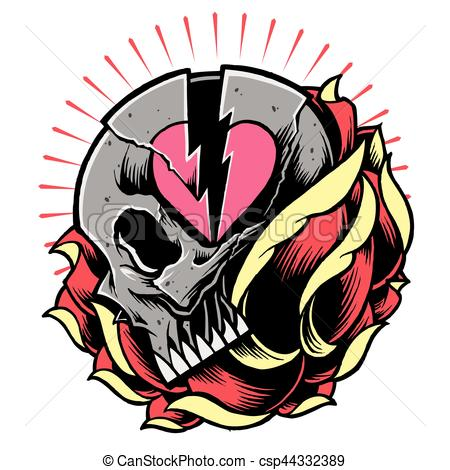 450x470 Skull And Broken Heart Symbol With Rose Vector. In Old Vector