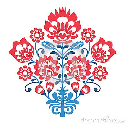 400x399 Polish Folk Art Pattern With Flowers