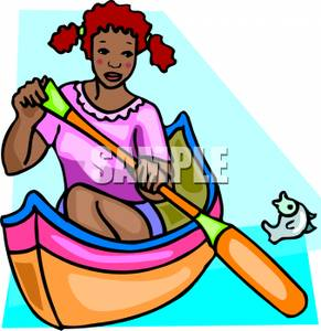 291x300 A Girl Rowing A Canoe With A Fish Jumping Up Out Of The Water Next