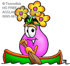 300x280 A Flower Cartoon Character Rowing A Boat
