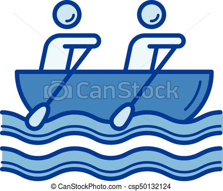 450x386 Canoe Rowing Line Icon. Canoe Rowing Vector Line Icon Vector