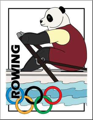 304x392 Clip Art Cartoon Olympics Panda Rowing Color I