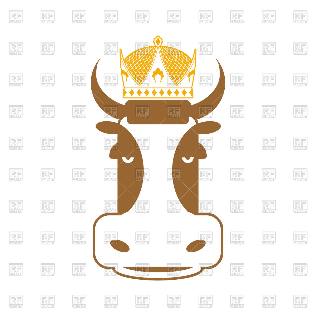 1200x1200 Royal Beef. Cow In Crown. Sign For Meat Production Royalty Free