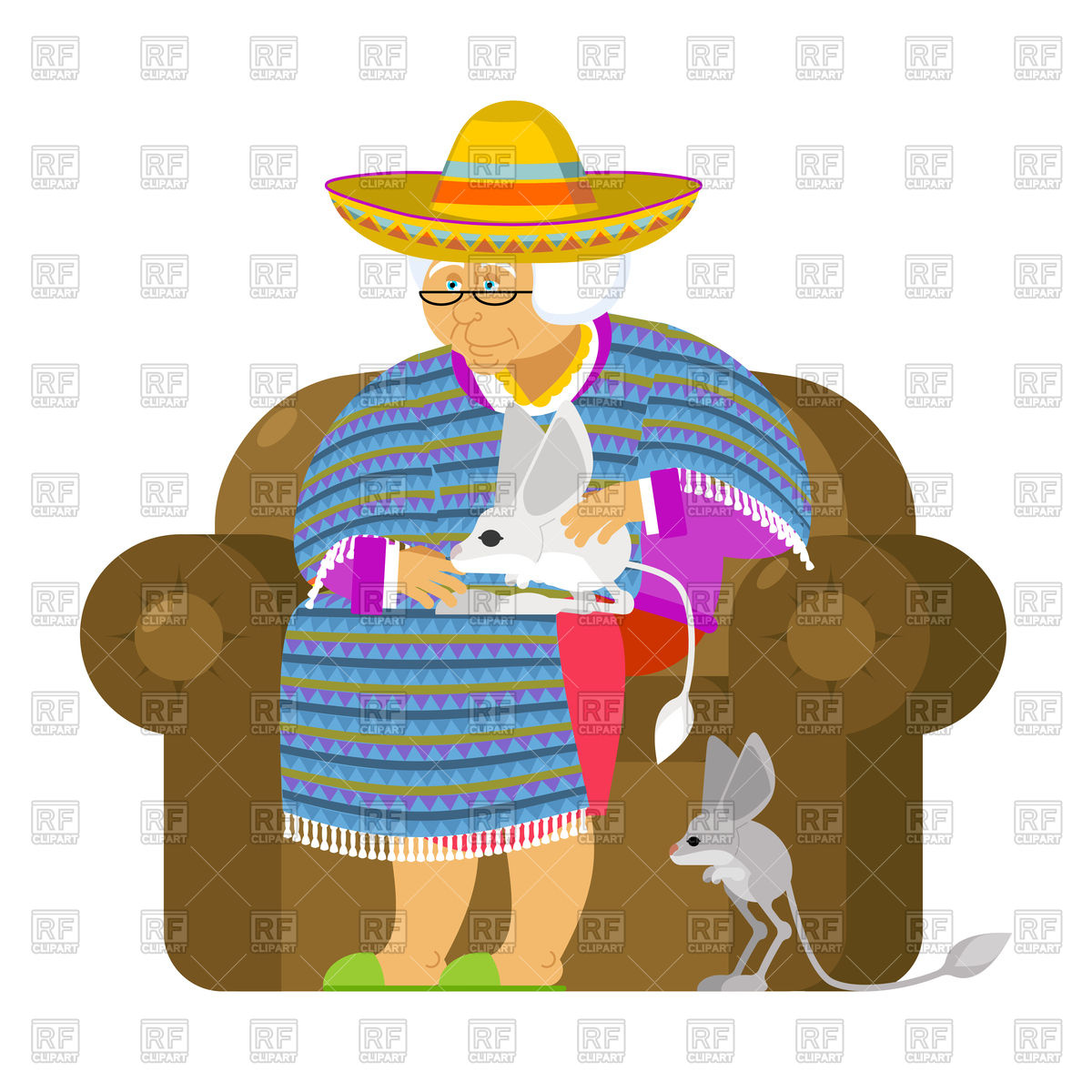 1200x1200 Mexican Grandmother And Jerboa As Pet Royalty Free Vector Clip Art
