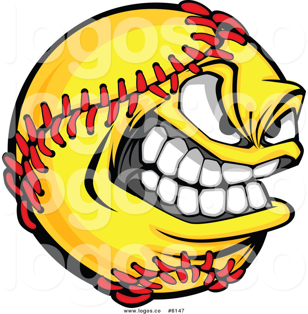 1024x1044 Royalty Free Clip Art Vector Logo Of A Grinning Softball Mascot By