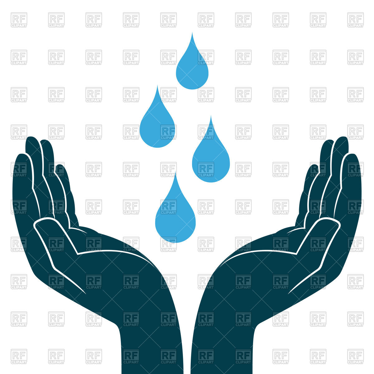 1200x1200 Blue Water Drops In Hands Eco Icon Royalty Free Vector Clip Art
