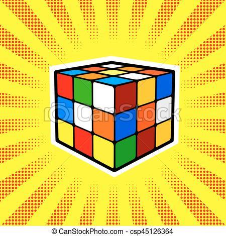 450x470 Rubik Cube Comic Book Style Vector. Rubik Cube Comic Book Clip