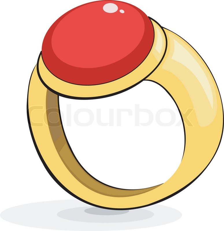 775x800 Gold Ring With A Ruby Stock Vector Colourbox