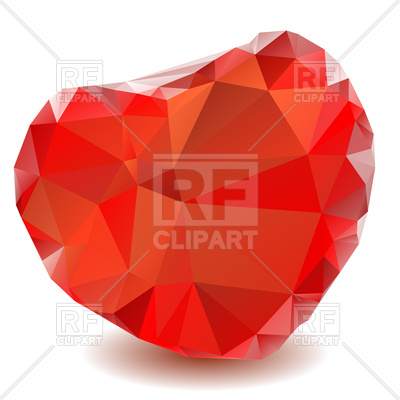 400x400 Red Crystal Heart Royalty Free Vector Clip Art Image