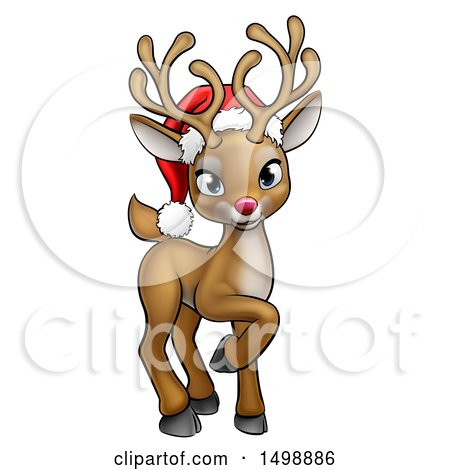 450x470 Clipart Of A Happy Red Nosed Reindeer Face Wearing A Christmas