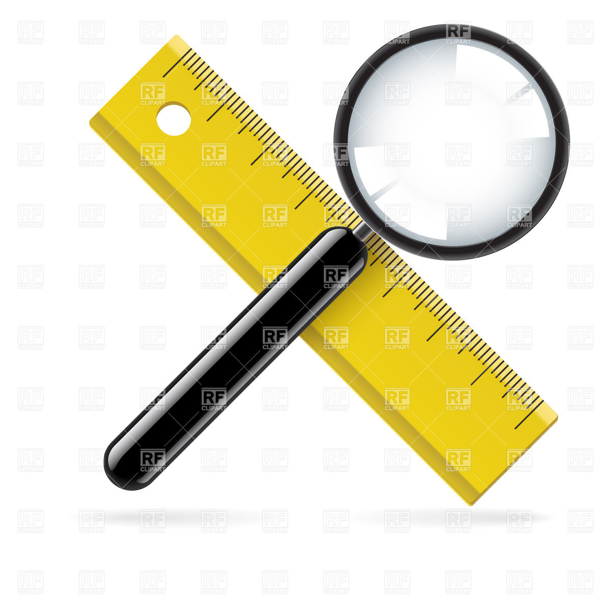 1200x1200 Magnifying Glass And Ruler Royalty Free Vector Clip Art Image