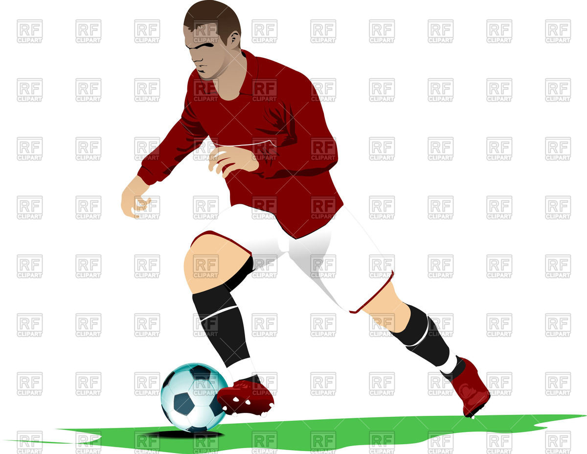 1200x927 Running Soccer Player With Ball Royalty Free Vector Clip Art Image