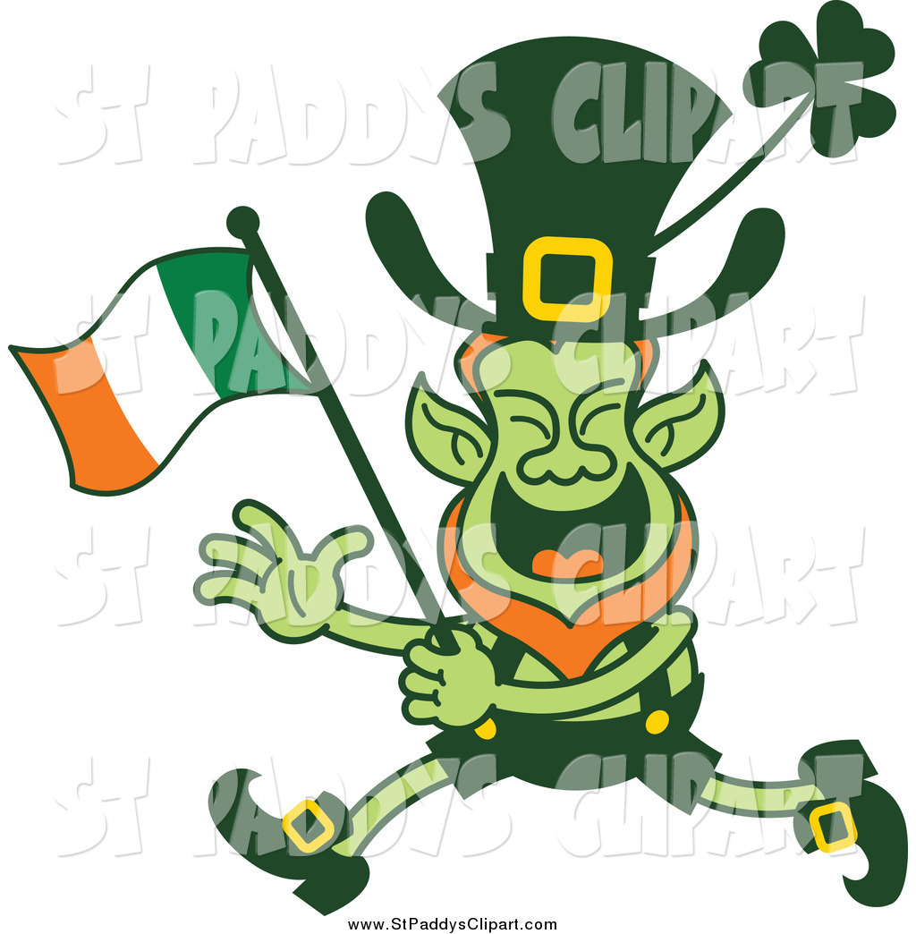 1024x1044 Vector Clip Art Of A St Paddys Day Leprechaun Running And Waving