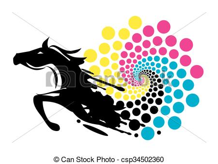 450x338 Horse Print Color Circle. Black Running Horse