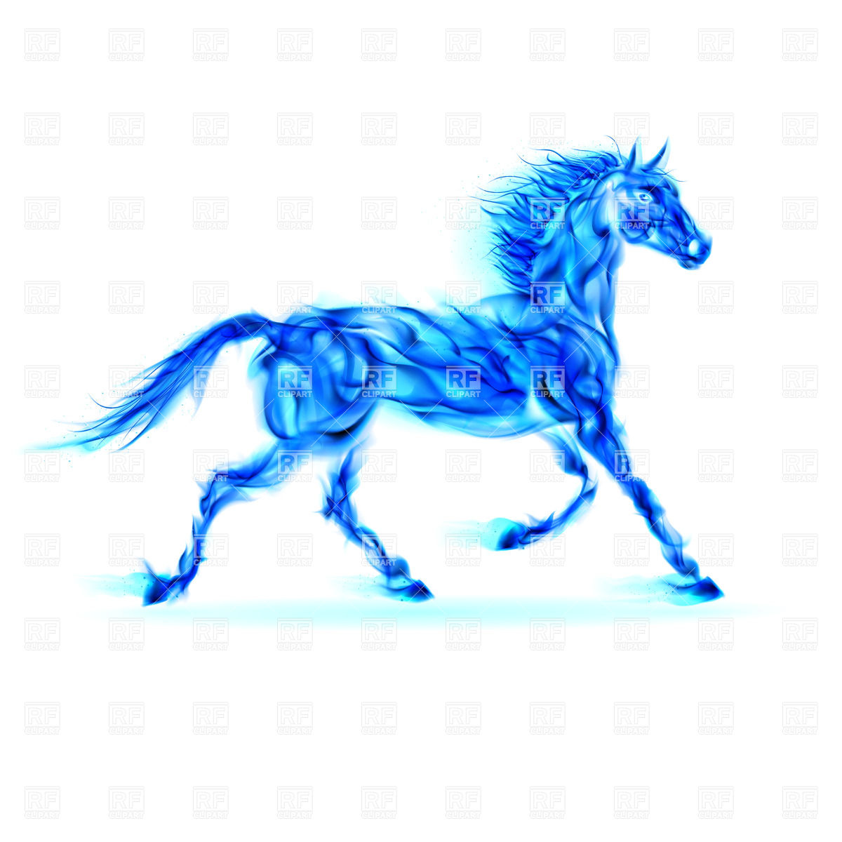 1200x1200 Blue Fire Horse In Motion On White Background Royalty Free Vector
