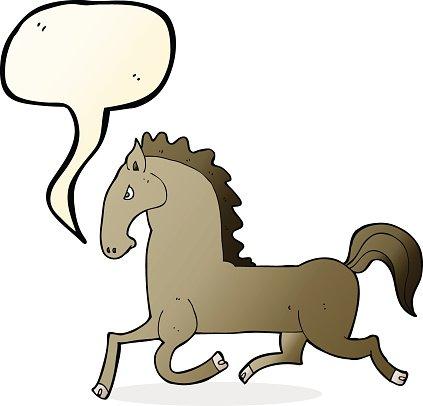 423x406 Cartoon Running Horse With Speech Bubble Premium Clipart