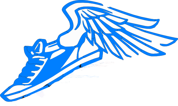600x359 Blue Running Shoe With Wings Clip Art