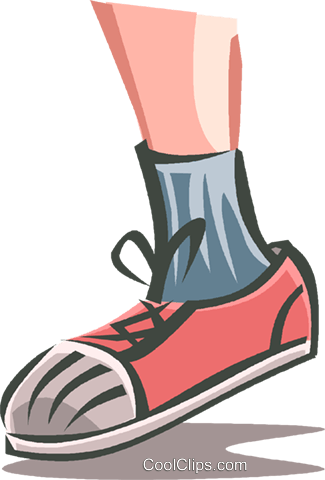 325x480 Child's Lower Leg With Running Shoe Royalty Free Vector Clip Art