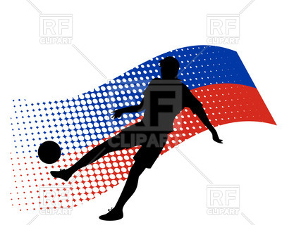 400x320 Silhouette Of Soccer Player Against Stylized Flag Of Russia