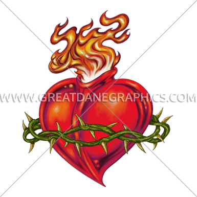 385x385 Sacred Heart Production Ready Artwork For T Shirt Printing