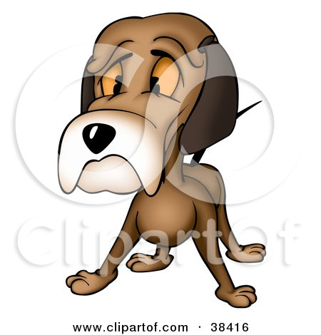 450x470 Clipart Illustration Of A Sad Brown Dog Giving The Puppy Face By