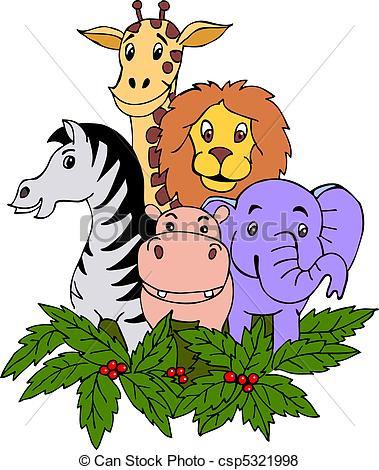 379x470 Beautiful Zoo Animals Clipart Hand Draw Safari Animal Vector