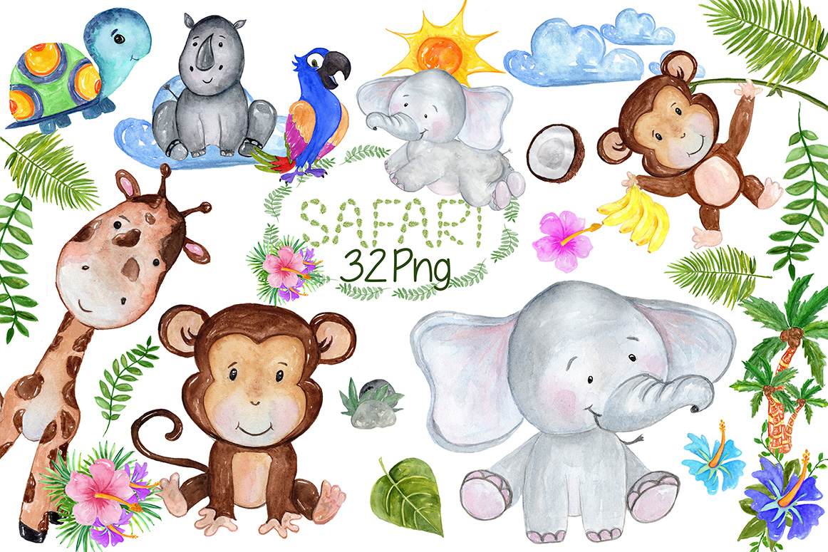 1162x775 Safari Animals Clipart By Vivastarkids Design Bundles