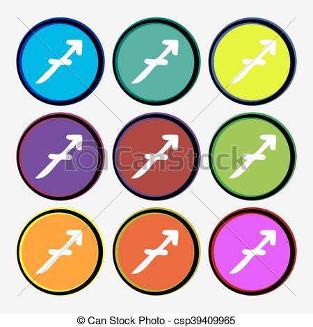 450x470 Sagittarius Icon Sign. Nine Multi Colored Round Buttons . Clip