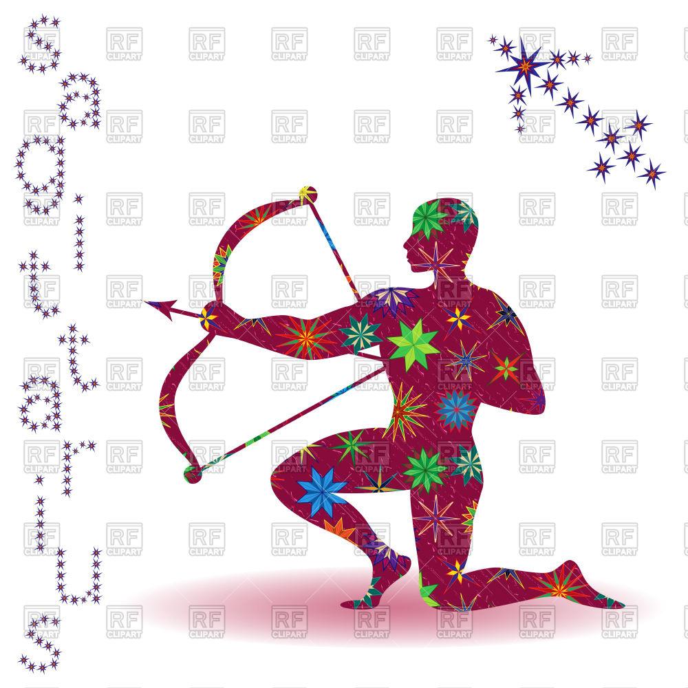 1000x1000 Sagittarius Zodiac Sign With Stylized Multicolor Stars Royalty