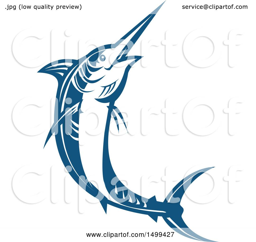 1080x1024 Clipart Of A Jumping Blue Marlin Fish