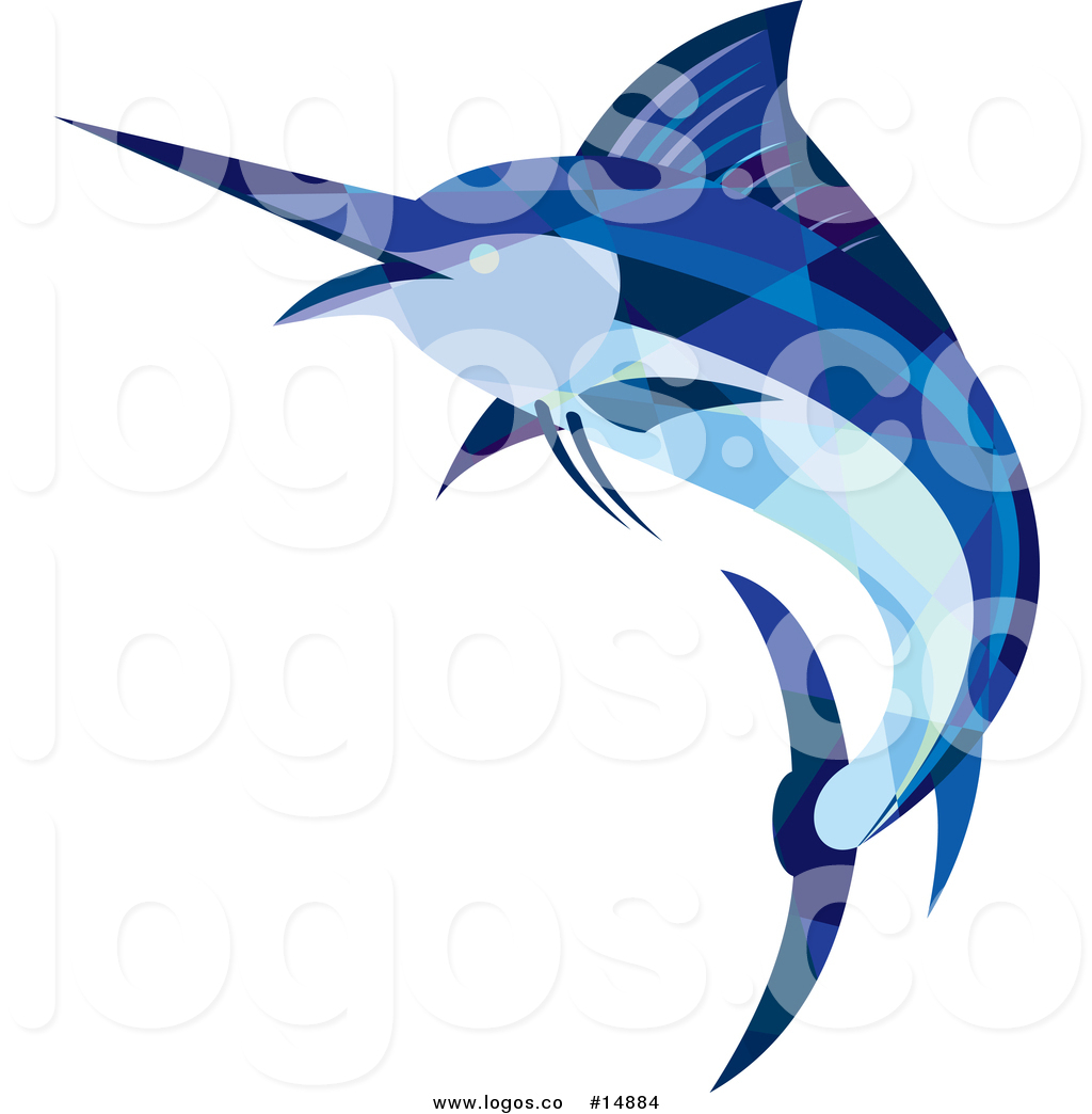 1024x1044 Royalty Free Vector Logo Of A Low Poly Geometric Blue Marlin Fish