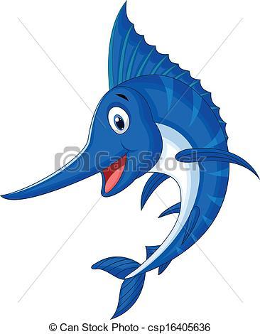 366x470 Vector Illustration Of Marlin Fish Cartoon Vectors