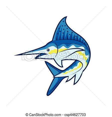 450x470 Blue Marlin Fish Vector Clipart