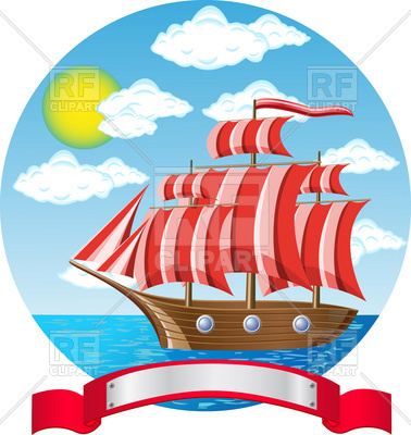 378x400 Old Wooden Sailing Vessel In Sea Royalty Free Vector Clip Art