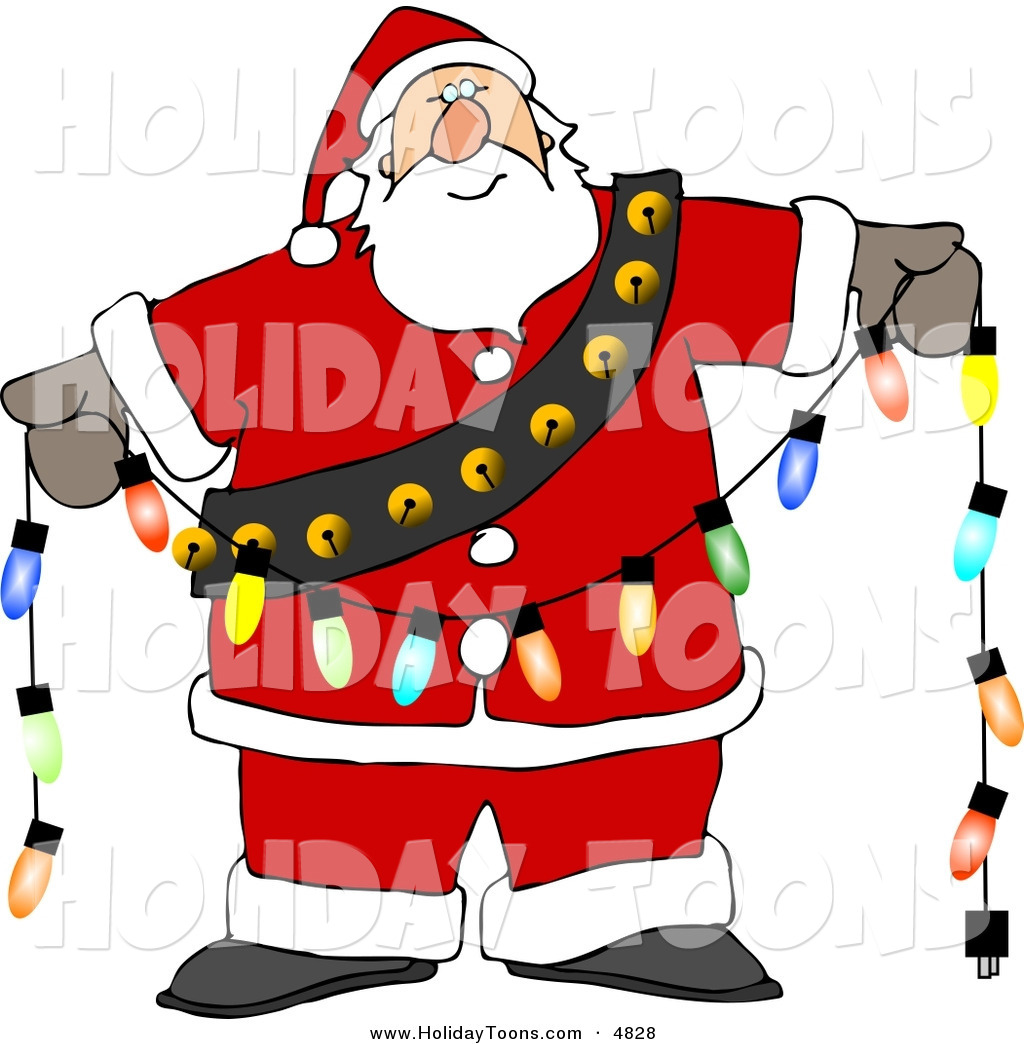 1024x1044 Royalty Free Holiday Clipart Of Santa Claus Decorating